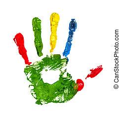 backgr, coloré, isolé, doigts, handprint, blanc vert