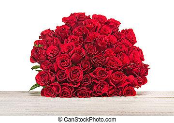 backgr, fleur, coloré, bouquet, isolé, roses, bois, rouges