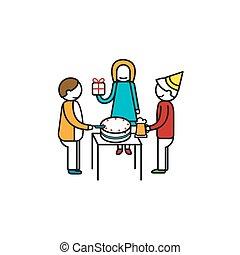 backgr, friend., vector, illustratie, verjaardagsfeest, witte