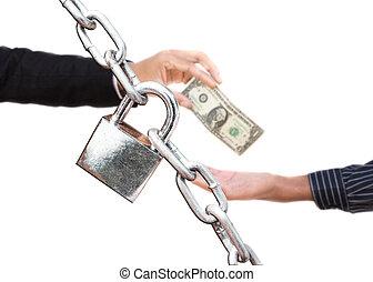 backgr, giver, penge, hen, isoleret, hånd, en anden, garanti, hvid