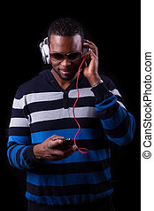 backgr, odizolowany, amerykanka, muzykować słuchanie, afrykanin, czarny człowiek
