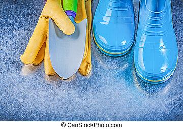 backgr, protecteur, truelle, main, gumboots, gants, sécurité, métallique