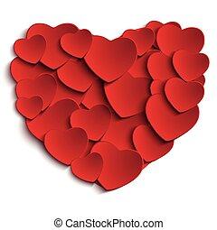 backgr, serce, biały, dzień, valentine