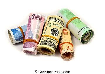 backgr, tyrkisk, dollare, to, lire, hundred, hvid