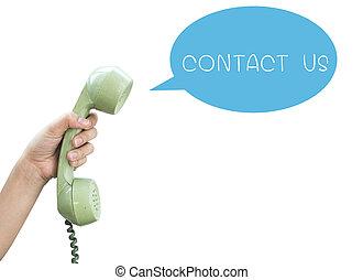 backgr, us., isolé, main, contact, vendange, téléphone, blanc, prise