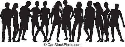 backgr, witte , silhouette, mensen