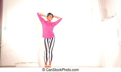 backgro, blanc, jeune fille, danse