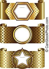 backgro, quadro, elegante, dourado