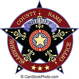 backgrou, écusson, blanc, sheriff's