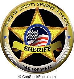 backgrou, バッジ, 白, sheriff's