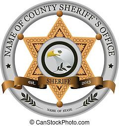 backgrou, distintivo, bianco, sheriff's