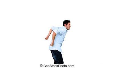 backgrou, sauter, jeune homme, blanc