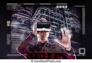 backgrou, virtuel, noir, goggles., réalité, coup, studio, ...