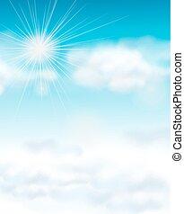 Backgroud design with bright blue sky illustration