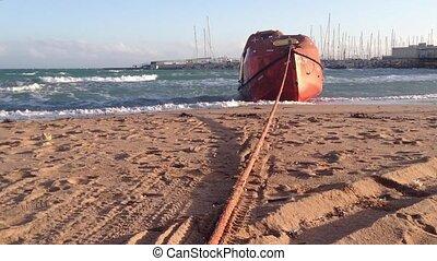 backgroud., secours, orageux, méditerranéen, port, rivage, mer, vagues, orange, bateau