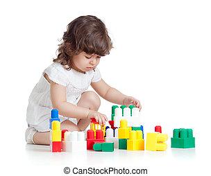 backgroun, わずかしか, セット, 上に, 朗らかである, 建設, 子供, 白