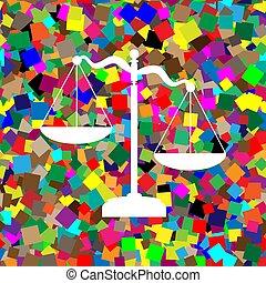 backgroun, カラフルである, スケール, 正義, 印。, vector., 白, アイコン