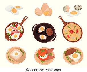 backgroun, 作られた, 皿, 原料, セット, 卵, 沸かされる, ベクトル, 味が良い, イラスト, 様々, 白, 揚げられている, 未加工