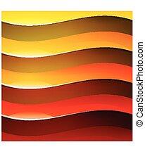 backgroun, 抽象的, 黄色, 波, 形, オレンジ, 光沢がある, 赤