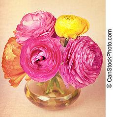 backgroun, 花, 色彩丰富, 葡萄收获期, 黄色, 瓶, ranunculus