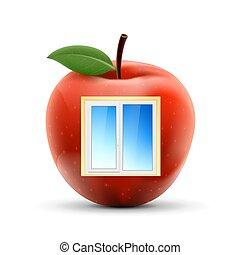 backgroun, apple., isolé, plastique, fenêtre, blanc rouge