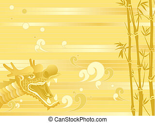 backgroun, bambou, dragon chinois