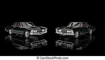 backgroun, classieke, black , twee, auto's