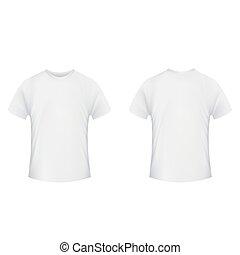 backgroun, costas, template., t-shirt, em branco, frente, branca, lado