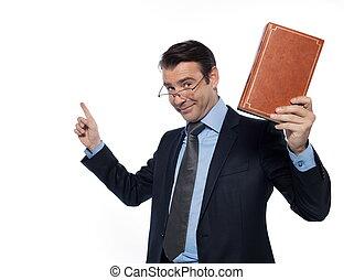 backgroun, dictar una conferencia, profesor, aislado, profesor, estudio, caucásico blanco, hombre