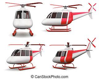 backgroun, différent, ensemble, isolé, jouet, hélicoptère, blanc, vue