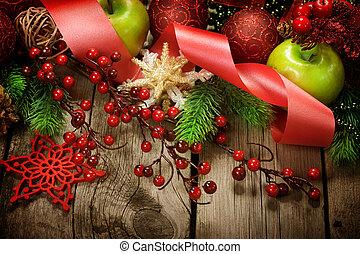 backgroun, fából való, szüret, felett, dekoráció, tervezés, határ, karácsony