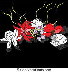 backgroun, flores, pretas, coloridos