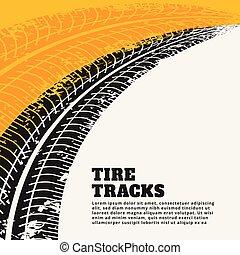 backgroun, grunge, trilha pneu, marcas, impressão