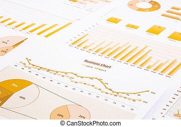 backgroun, handlowy, wykresy, żółty, wykresy, zameldować, summarizing