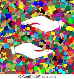 backgroun, illustration., coloridos, sinal, vector., branca, mão, ícone