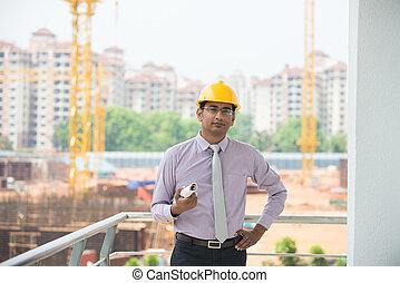 backgroun, indische , standort, baugewerbe, prüfen, mann, ingenieur