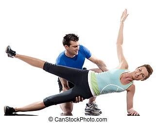backgroun, kobieta, trening, para, biały, człowiek, abdominals, postawa