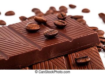 backgroun, koffie bonen, witte chocola