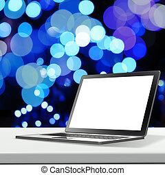 backgroun, laminate, laptop, sfocato, vuoto, tavola, schermo