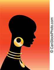 backgroun, niña, rojo, africano