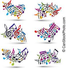 backgroun, notas, estrofas, alegre, brillante, vector,...