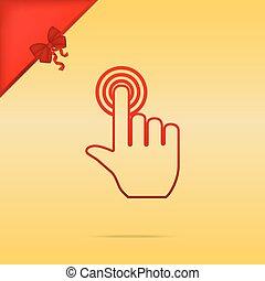 backgroun, oro, button., cristmas, mano, disegno, scatto, rosso, icona
