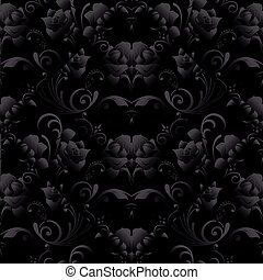 backgroun, pattern., seamless, sötét, agancsrózsák, vektor, fekete, virágos