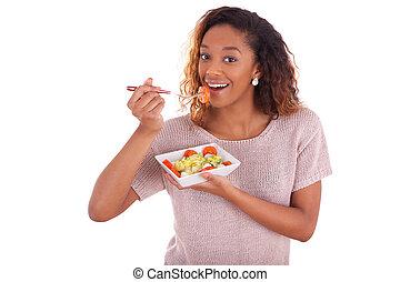 backgroun, woman eszik, elszigetelt, amerikai, saláta, afrikai, fehér