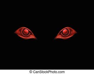backgroun, yeux, vecteur, noir, mal