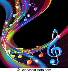 background., абстрактные, музыка, notes, красочный