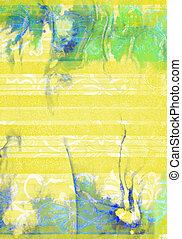 background:, 抽象的, 黄色, パターン, textured, 花, 緑, 白, 背景, 青