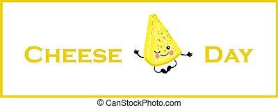 background.., 横, 日, 白, cheese., かわいい, 特徴, チーズが多い, 葉書, banner.