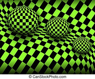 Background 3d, checkered spheres,