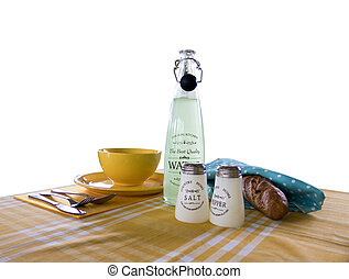 Background about the food with the bread and tablecloth, a bottle and seasonings